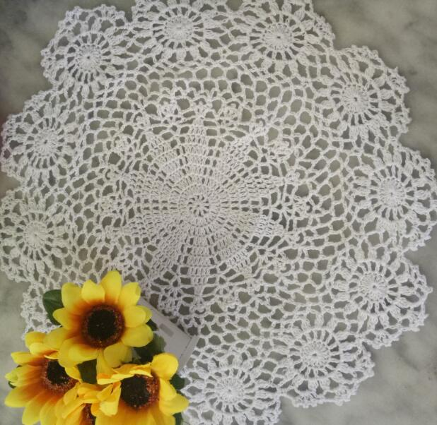 Handmade crochet table place mat cloth lace cotton placemat tea Cup coaster dining coffee doily pad drink mug Christmas kitchen in Mats Pads from Home Garden