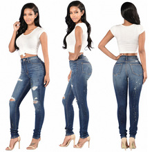 European and American fashion sexy tight hole in ms show little feet hot style super elastic jeans trousers