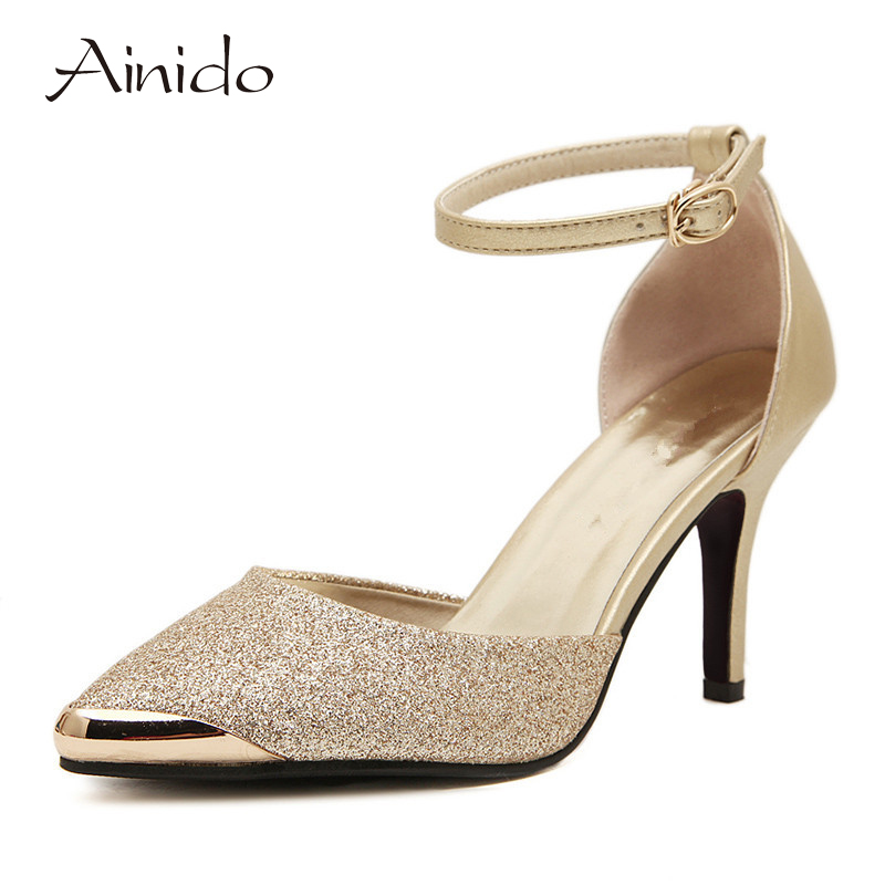 AINIDO Brand Shoes Woman High Heels Women Pumps Stiletto Thin Heel Women's Shoes Gold Blue Pointed Toe High Heels Wedding Shoes набор ножей vitesse vs 1756 maureen