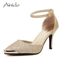 AINIDO Бренд Обуви Женщина На Высоких Каблуках Женщины Насосы Стилет Тонкий пятки женская Обувь Золото Синий Острым Носом На Высоких Каблуках Свадьбы обувь
