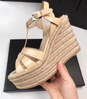 Летние женские босоножки на танкетке Chic из натуральной кожи Обувь на высоком каблуке сандалии с ремешками на лодыжках EU35 41 Размер BY475