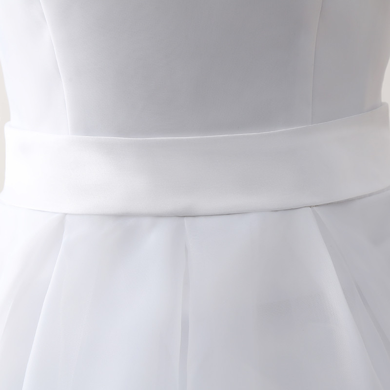 Simple Cheap Short Wedding Dresses 2017 White Knee-Length Wedding Bridal Gowns Sleeveless Scoop Neck Bow Back Robe De Mariage 7