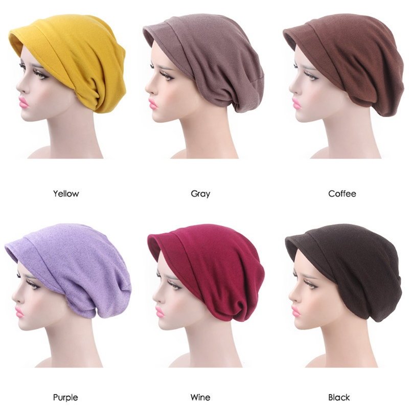 Womens Solid Color Windproof   Beanie   Cap With Brim Turban Chemo Hat Beret Winter