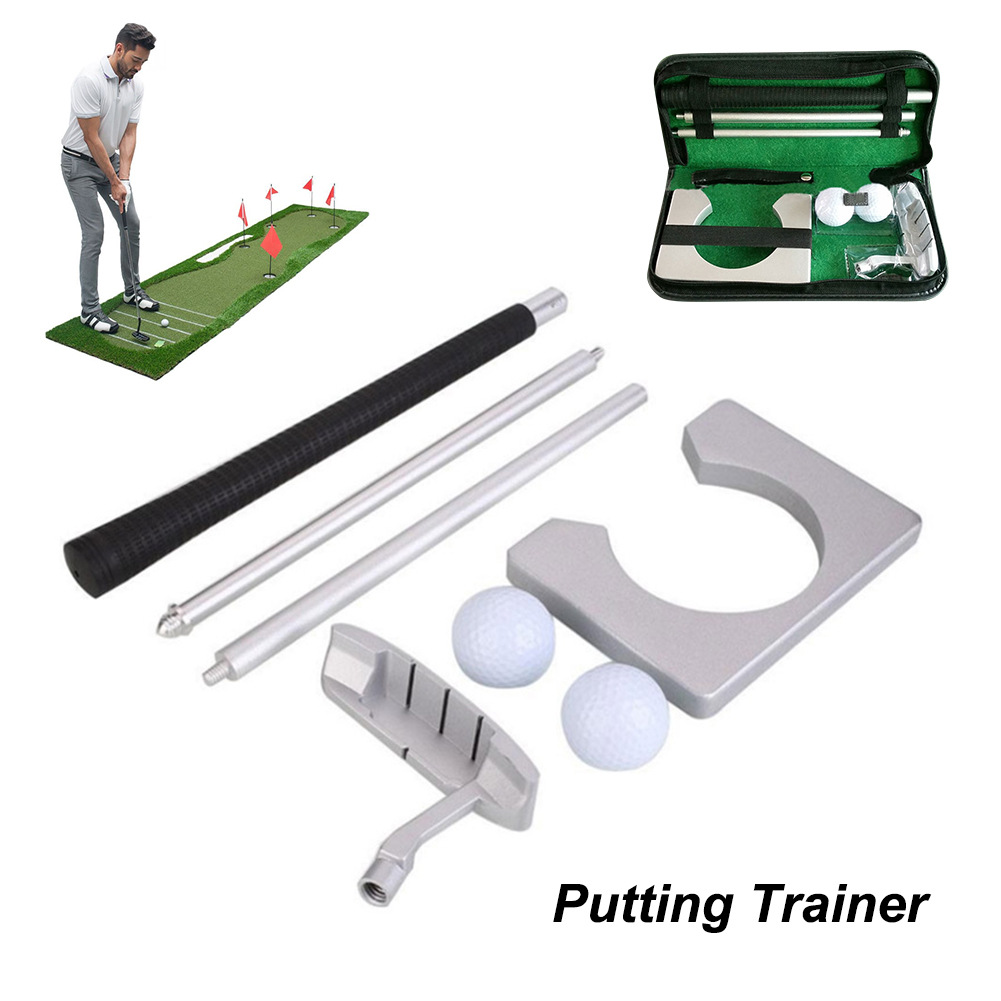 Portable Golf Putter Putting Trainer Set Indoor Training Equipment Golfs Ball Holder Training Aids Tool with Carry Case 10