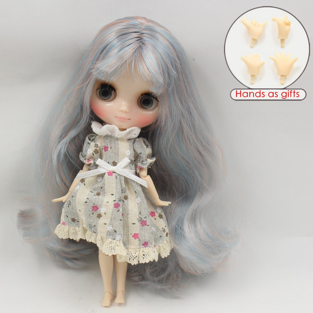 Free shipping 280BL6909/1010 Nude Middie blyth Doll blue mix pink hair with bangs bjd toy gift, 1/8 doll, 20cm doll nude doll ayanami rei blue hair 6203