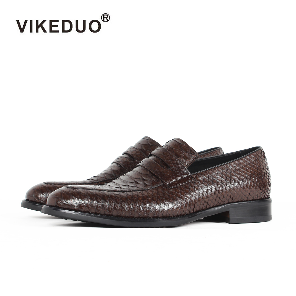 Vikeduo 2018 Handmade Designer Snakeskin Fashion Party Wedding Brand Leisure Male Dress Causal Genuine Leather Mens Loafer Shoes