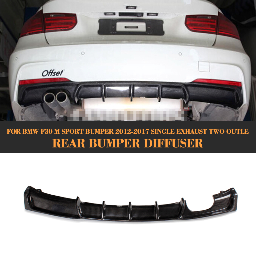 Carbon Fiber Car Rear Bumper lip spoiler Diffuser for BMW 3 Series F30 M Sport Bumper 12-17 Single exhaust two outle