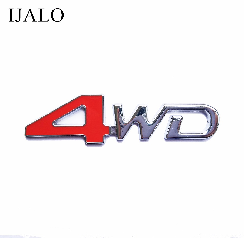 4 WD Super Chromed Quality Metal Car Emblem Badge auto styling decoration emblem with double side adhesive sticker