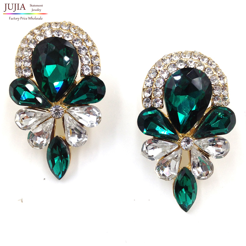 2017 new fashion women statement crystal stud earrings for