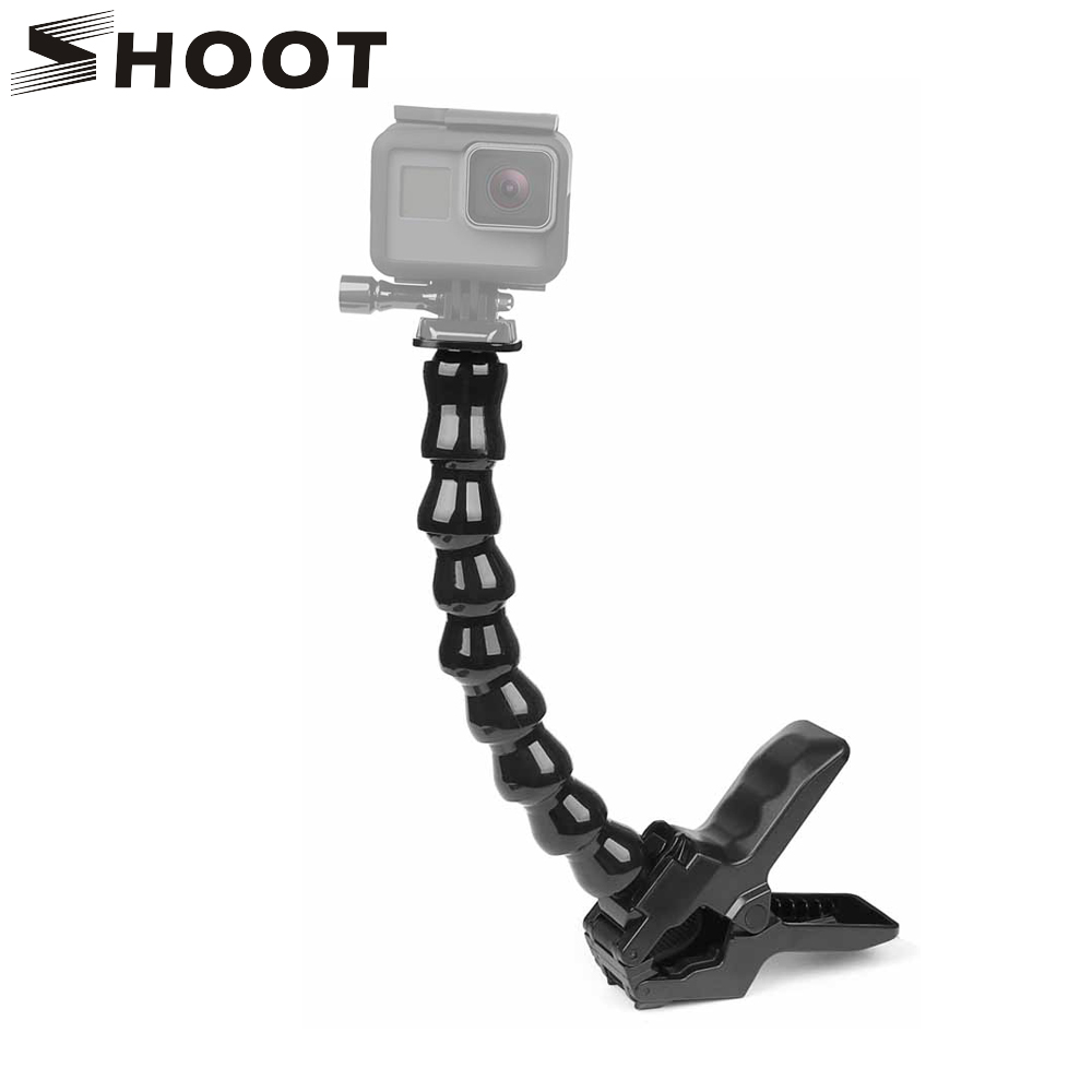 SHOOT 24cm Gooseneck Adjustment Jaws Flexible Clamp Mount for GoPro Hero 8 7 6 5 Session SJCAM SJ Xiaomi Yi 4K 4K  Camera Tripod