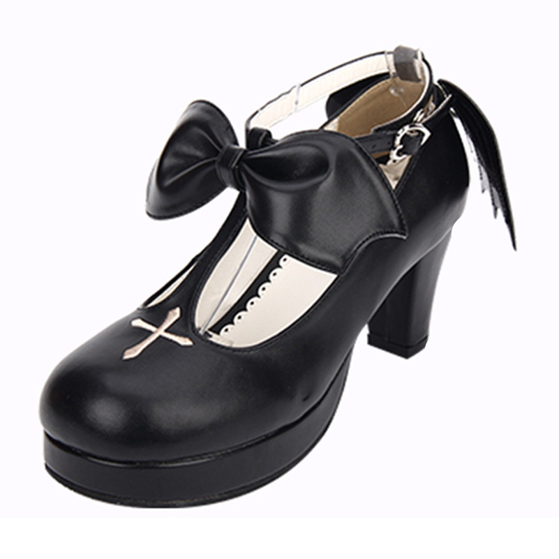 Big Size 34~44 Princess Pumps Sweet Lolita Shoes Gothic Punk T-Strap High-heeled Pumps Cross Shoes For Girls eur 34 44 angelic imprint zapatos mujer lolita cosplay punk pumps high boots princess sweet girl s pumps black women s shoes