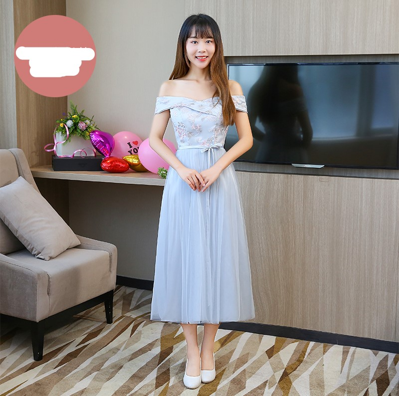 Blue Gray Colour Midi Dress Bridesmaid Dresses  Sleeveless  Dresses For Wedding Party  Embroidery Back Of Bandage