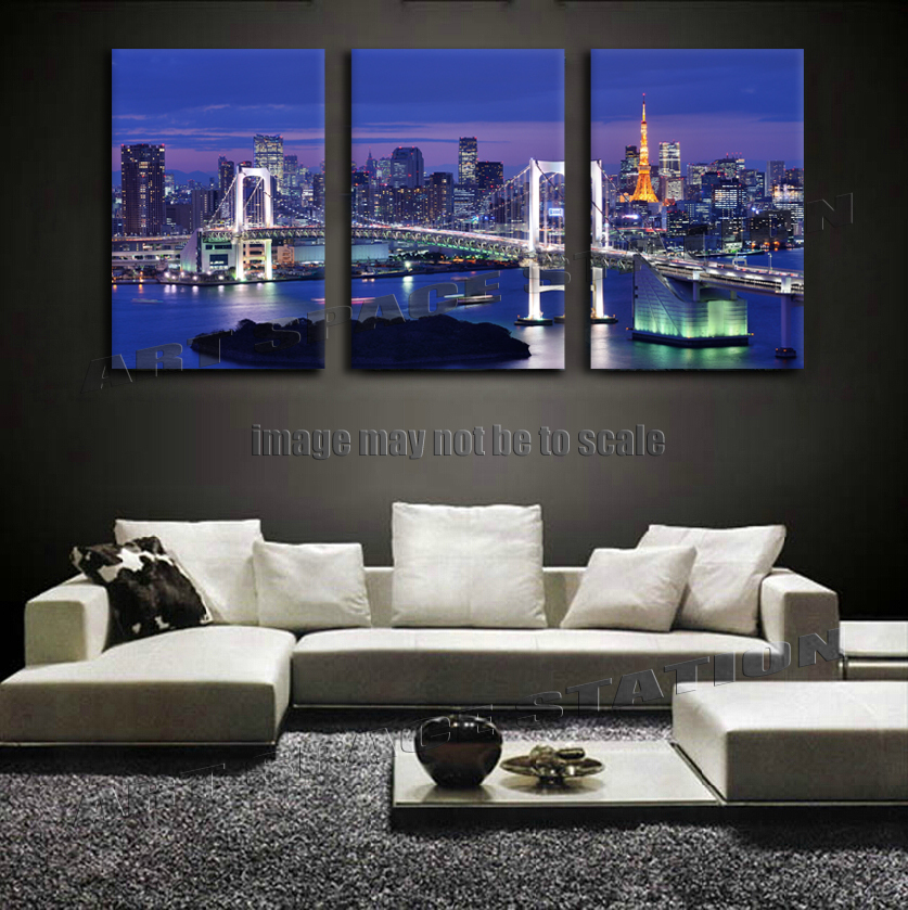 Large Tokyo City Night Lights Poster Purple Japan City