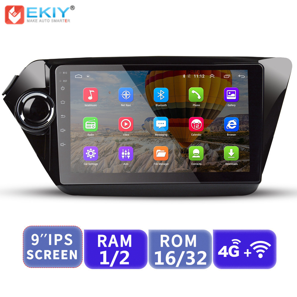 EKIY 9'' 2.5D Car Multimedia Player No 2 Din Android AutoRadio Stereo For Kia K2 Rio 2010-2017 GPS Navigation With 4G Modem image