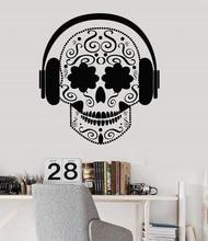 Vinyl wall aplikacja czaszka słuchawki muzyka nastolatek hostel muzyka plakat pokoju strona główna artystyczny design dekoracja 2YY20