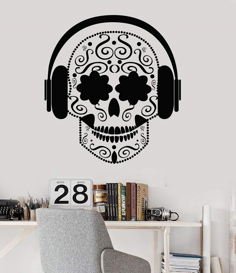 Vinyl wall applique skull headphones music teen hostel music room poster home art design decoration 2YY20-in Wall Stickers from Home & Garden