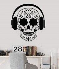 ויניל קיר אפליקצית גולגולת אוזניות מוסיקה teen אכסניה מוסיקה חדר פוסטר בית אמנות עיצוב קישוט 2YY20