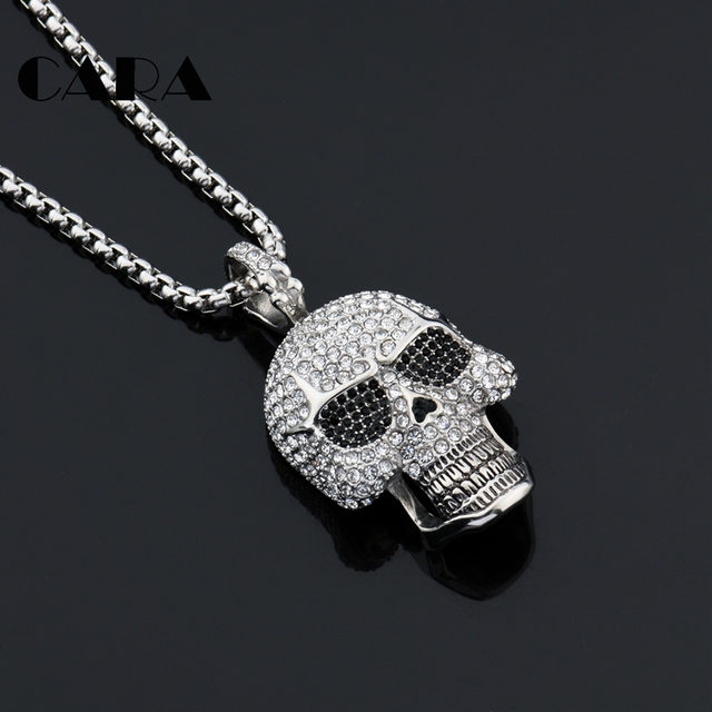 2019 New Bling Bling Iced out full rhinestones Skull pendant necklace 316L  Stainless steel men hip hop necklace jewelry CAGF0428 0d6a16c8ac90