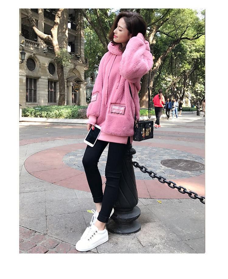 Shirts Femmes Velours xxl Style Épaississement rose Plus Coréen Lâche Automne up Zip S Chaud Capuche Hiver Noir Et À De Doux Bqzxw1afS