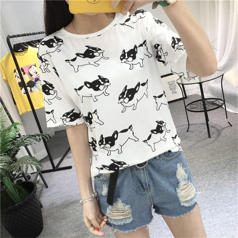 Cute Dog Print Design Women T Shirts French Bulldog T-shirt Novelty Short Sleeve Tee Tops 2018 Summer Hot Sale Dropshipping