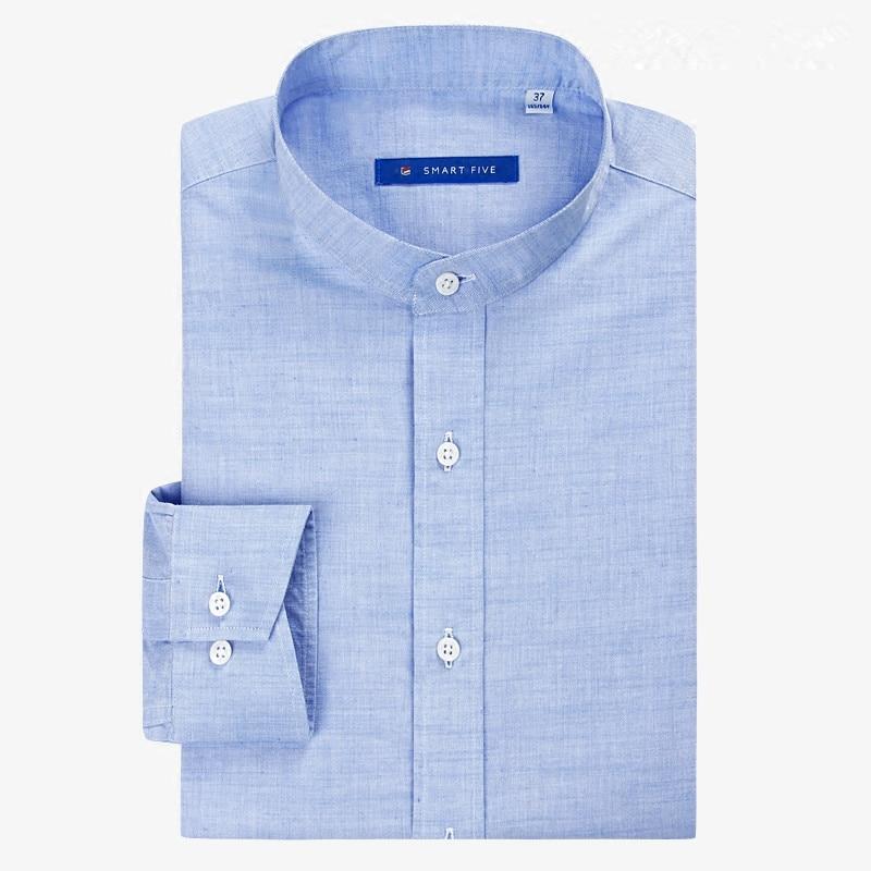 Herrenbekleidung & Zubehör Verantwortlich Smart Fünf Hochwertigen Leinenhemd Männer Camisa Masculina Langarm Stehen Kragen Business Herren Formalen Shirts Sfl5d289