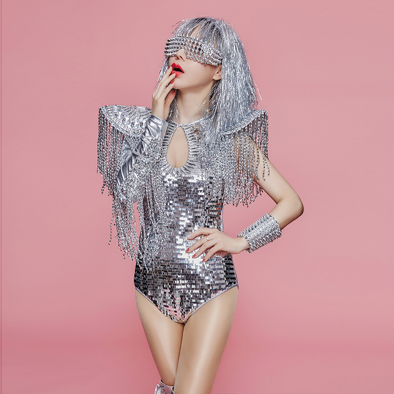 Hologram Silver Sequin Tassel Jumpsuit Drag Queen Fringe Bodysuit Costumes Burning Man Women Party Dance Showgirl Singer Outfit