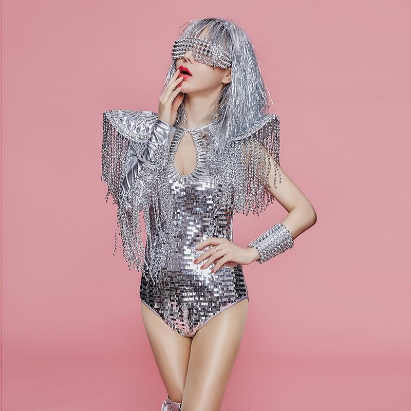 Hologram Silver Sequin Tassel Jumpsuit Drag Queen Fringe Bodysuit Costumes Burning Man Women Party Dance Showgirl Singer Outfit