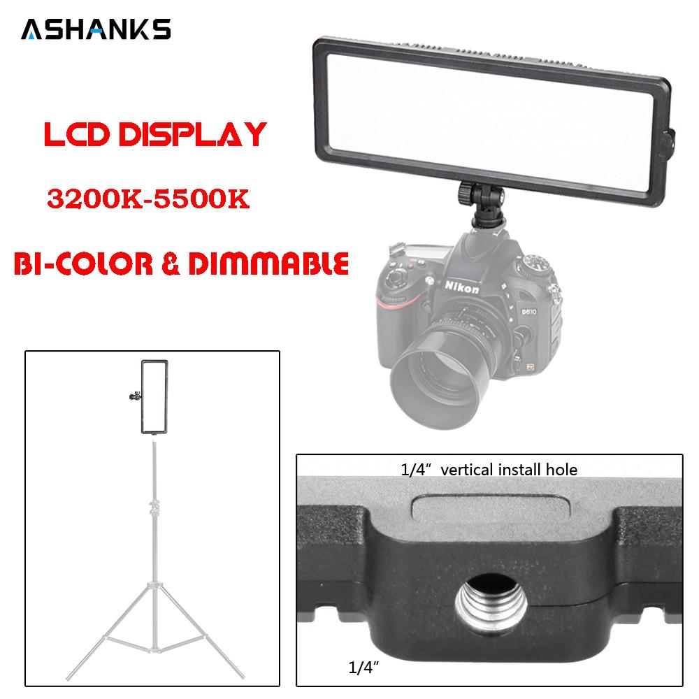 LCD Display Camera Video Light Led On Camera Bulbs 3200 5600k 16W Pad Panel Light for Photography Tripod Stand Canon Nikon DSLR