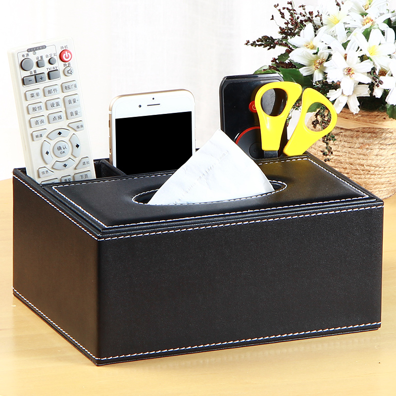 Leather Tissue Box Square 3 Slot Multifuntion Desktop Storage Organizer Coffee Table Living Room Remote Control Holder In Bo Bins From Home