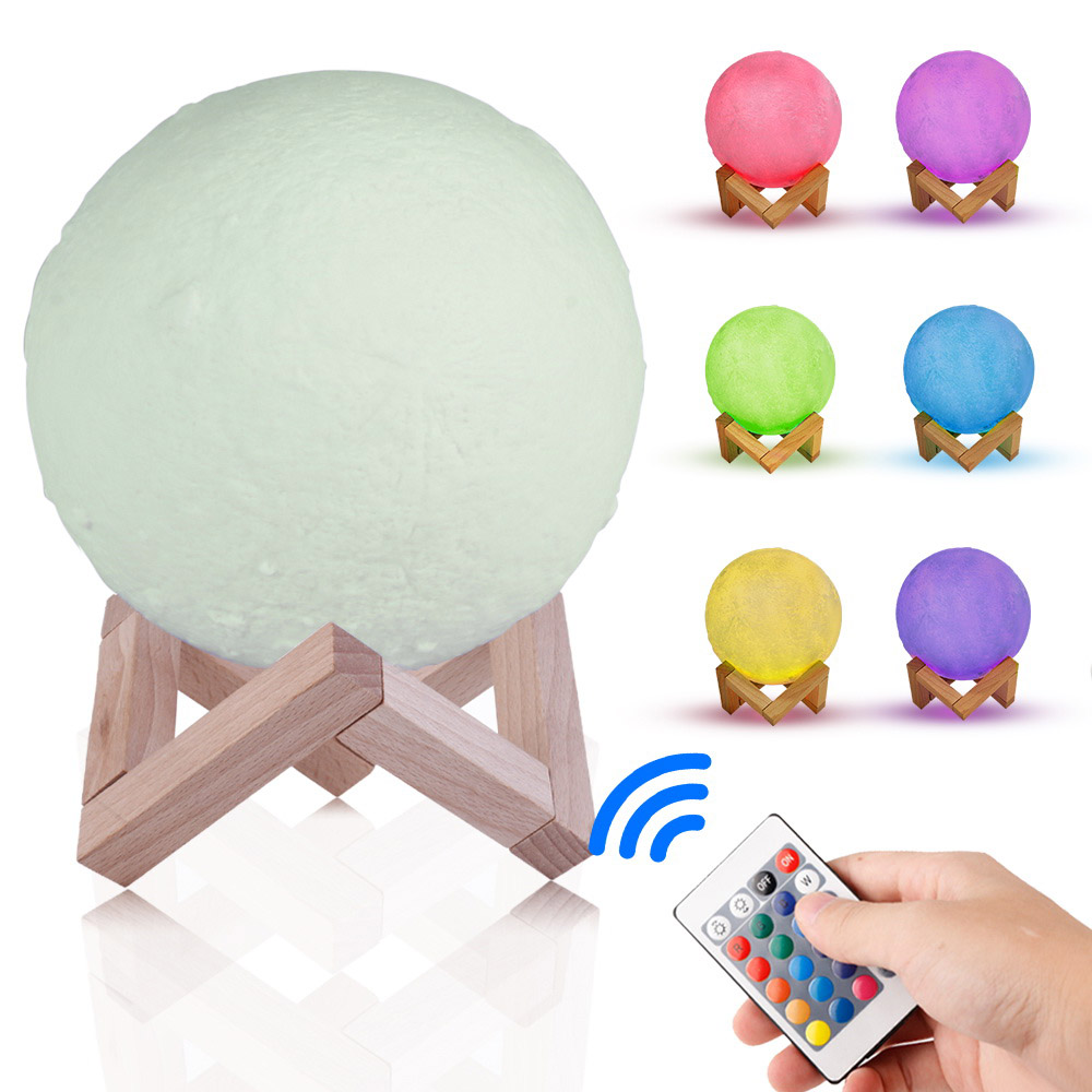 Rechargeable LED Night Light 3D Print Moon Lamp Table 16 RGB Colors Changing Remote Touch Control Decorative Lamps for Baby Kids keyshare dual bulb night vision led light kit for remote control drones