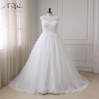 ADLN Custom Made Plus Size Wedding Dresses Elegant Cap Sleeve Applique Lace Up Back Bridal Gowns