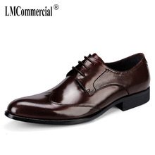 pointed mens business shoes men classic black Bullock High Quality Genuine Leather wedding big size cowhide