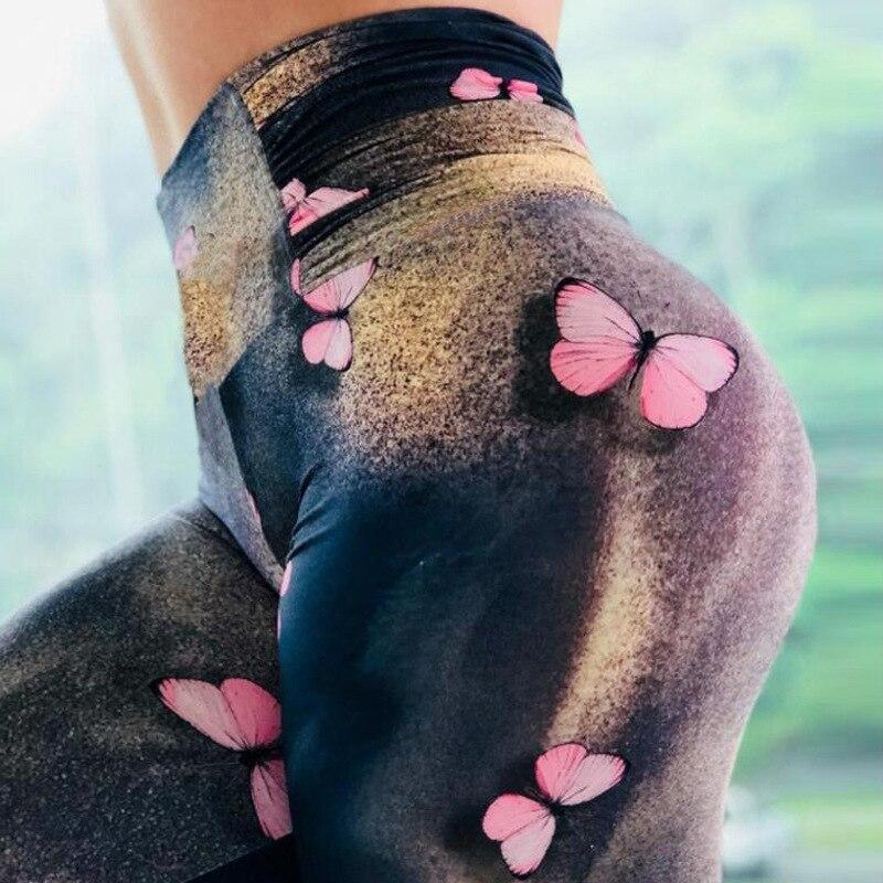 Red Butterfly Digital Printing Legging Slim High Waist Fitness Women Pants Women Sexy Skinny Leggings 2019 New  Hot Explosions