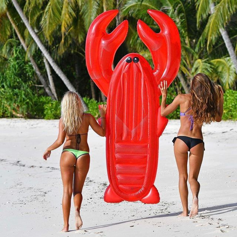 Lobster Floating Drainage On Inflatable Floating Mat Adult Toy Floating Bed Seafood Series Sea Air Bed