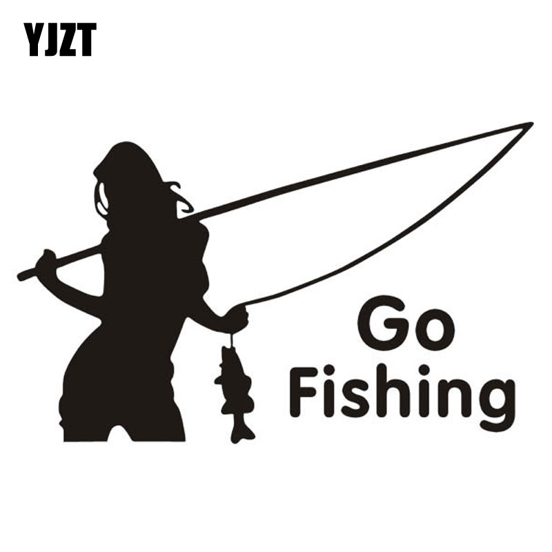 15*9CM Outdoor Sports Car Stickers GO FISHING Beauty Fishing Decorative Stickers CT-353