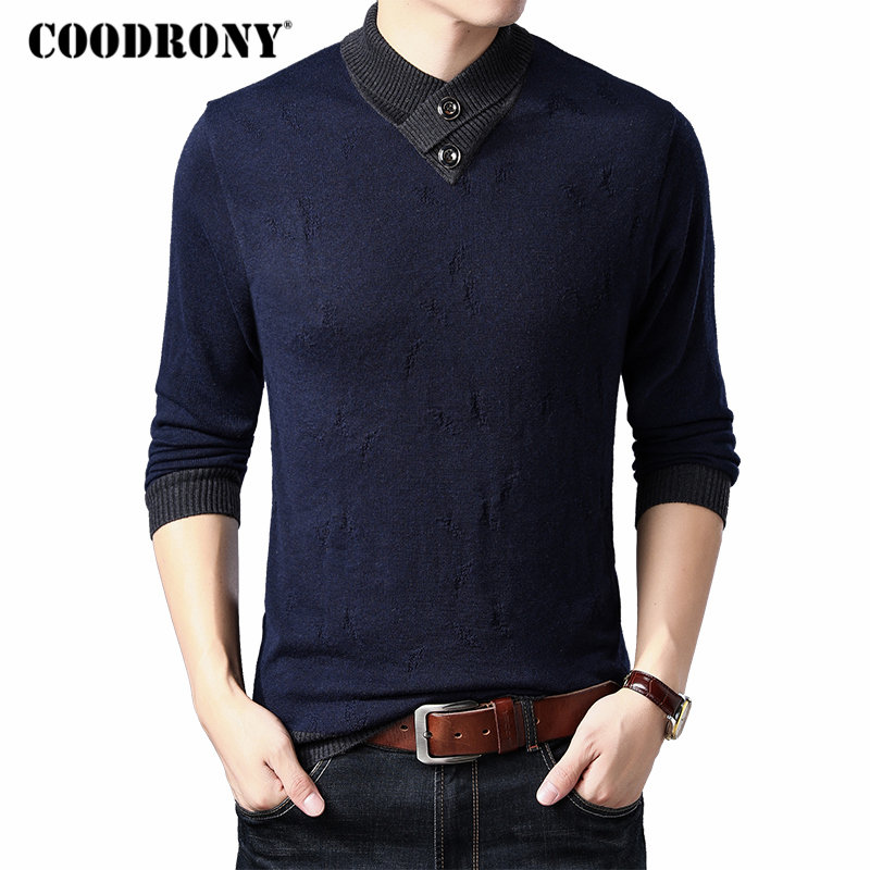 COODRONY Brand Sweater Men Warm Turtleneck Pull Homme Knitwear Cashmere Wool Pullover Men 2019 Autumn Winter Mens Sweaters 91033