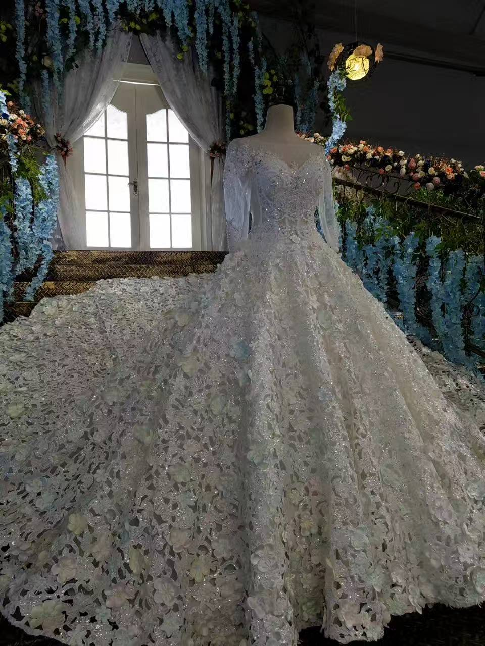Luxury Cathedral Train Crystal Trouwjurken Princess Designer - Trouwjurken - Foto 6
