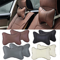 2PCS Useful Perforating Car Neck Pillow Hole-digging Winter Car Head Neck Rest Cushion Headrest PU Leather Warm Car Neck Pillow