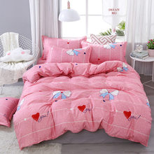 SJ 3/4pcs/Set Pink Kids Bedding Set Children Student Dormitory Bed Linen Linings Cotton Duvet Cover Set No Filler Home Textile(China)