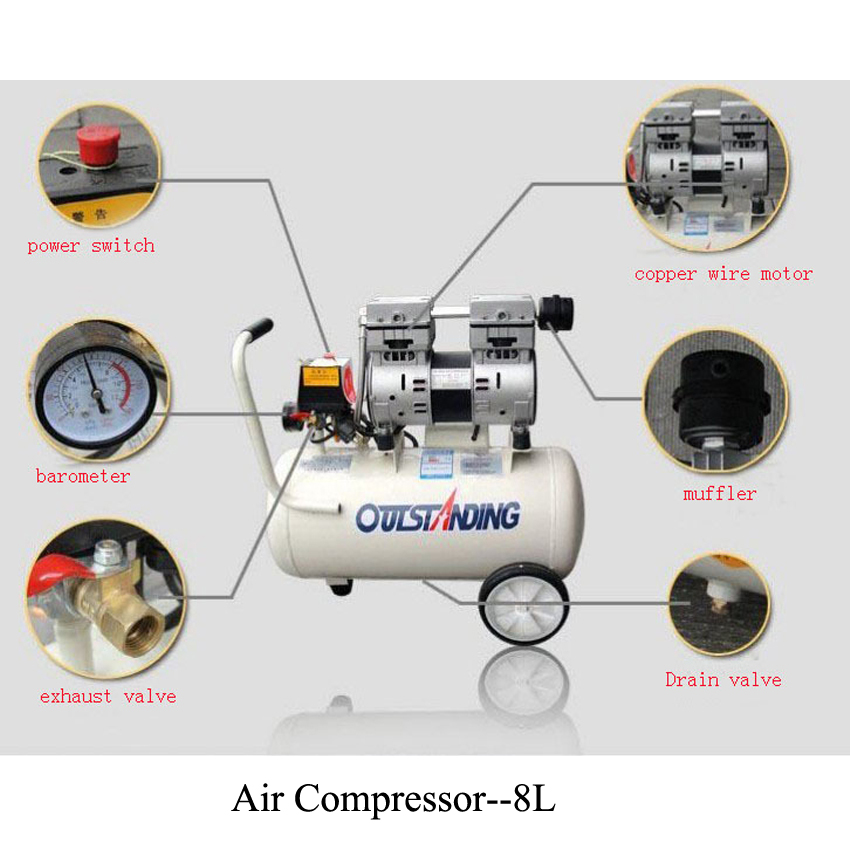 Noisy less light tool,Portable air compressor,0.7MPa pressure,8L air pool cylinder,economic speciality of piston filling machineNoisy less light tool,Portable air compressor,0.7MPa pressure,8L air pool cylinder,economic speciality of piston filling machine