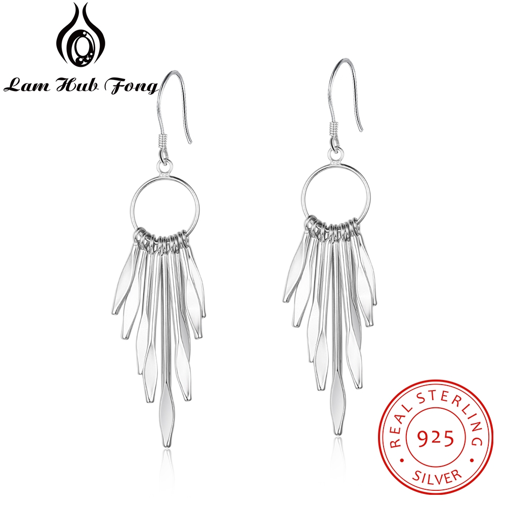 Earrings 925-Jewelry 925-Sterling-Silver Tassel Women for Long Circle with Metallic Sticks