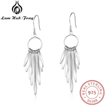 925 Sterling Silver Tassel Dangle Earrings for Women Long Circle with Metallic Sticks Jewelry (Lam Hub Fong)