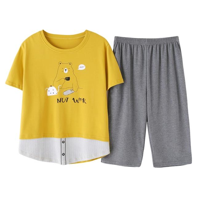 New Summer Pyjamas Women 100%Cotton Cartoon Pajamas Set Short Sleeve Round Neck Sweet Big Size M XXL Female Homewear Clothing