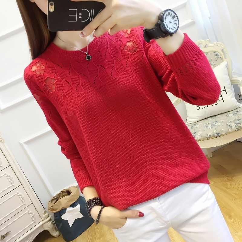 2019New Женская трикотажная нижняя рубашка кружевная вышивка длинный рукав полый свитер, большой размер и тонкая блузка, весенняя одежда