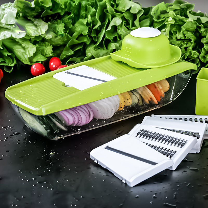 Vegetable Cutter Food Container Adjustable Mandoline Slicer with 4 Interchangeable Stainless Steel Blades Slicer Grater