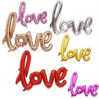 50 cái Ligatures Bức Thư TÌNH Lá Bóng Kỷ Niệm Wedding Valentines Happy Birthday Party Trang Trí trái tim tình yêu Bóng Vàng
