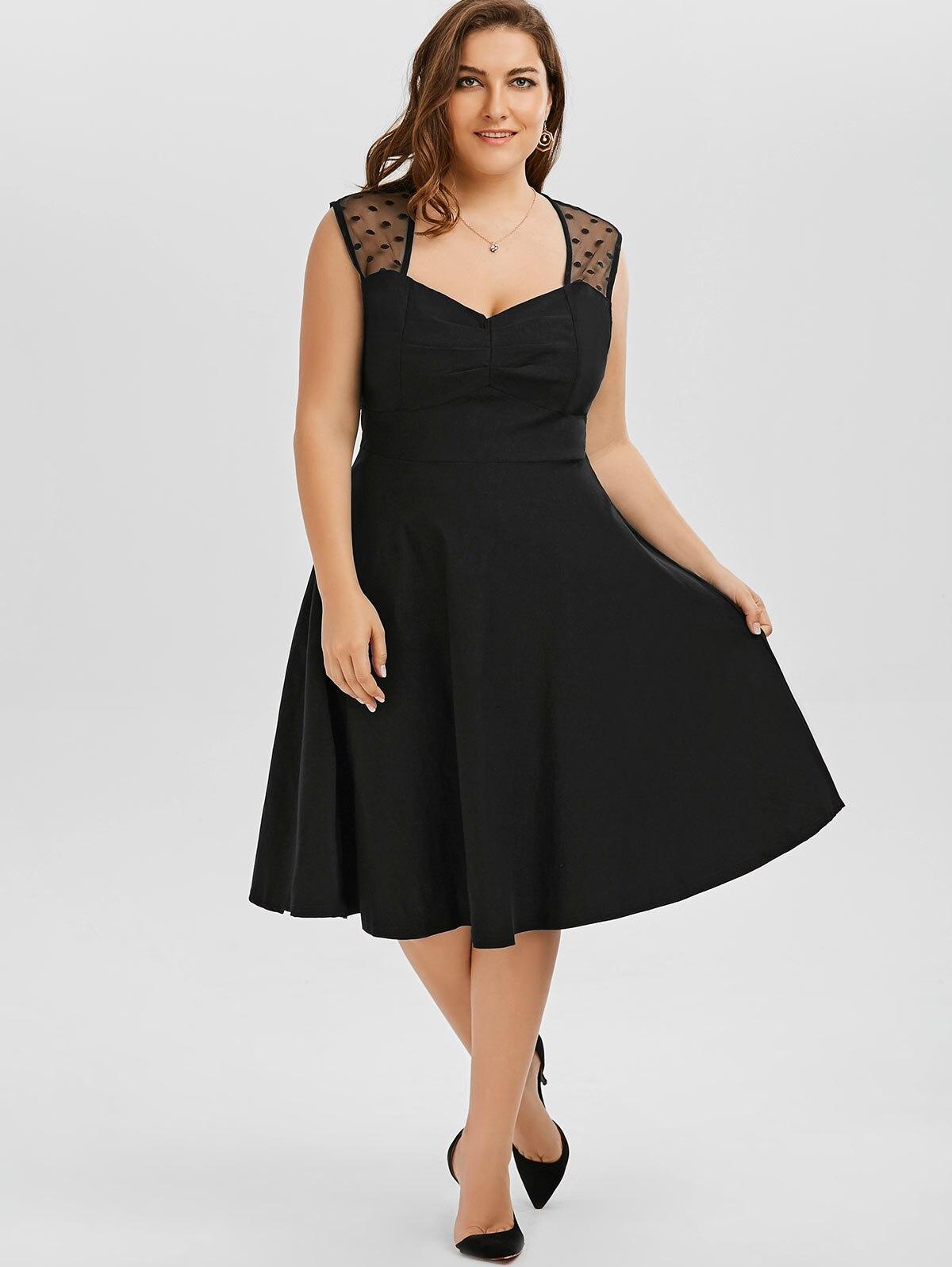 Wipalo Plus Size 5XL 4XL Vintage Retro Polka Dot Mesh Trim A Line Dress  Women Summer Sleeveless Midi Dress Office Work Vestidos