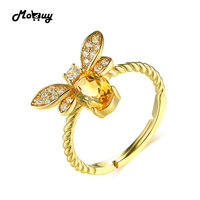 MoBuy MBRI019น่ารักผึ้งธรรมชาติพลอยซิทรินแหวน925