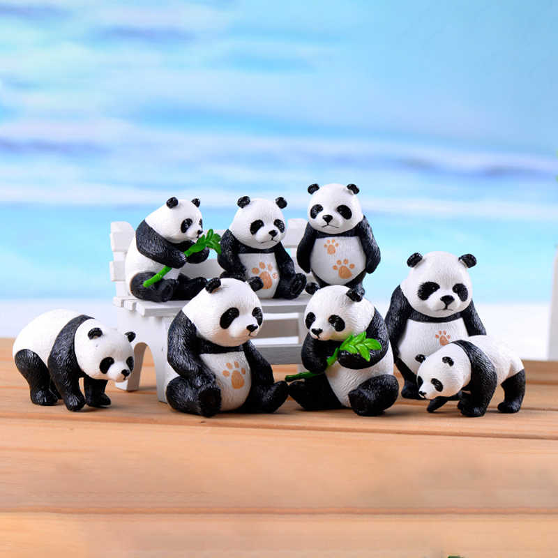 4PCS Panda Ornaments Figurines Miniature Garden Bonsai Decoration Micro Landscape Ornament Garden Decor PVC Micro Figurines