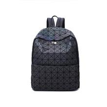 Женские светящиеся рюкзак Геометрическая сумка студента школьная сумка Голограмма Рюкзак Mochila holograficas